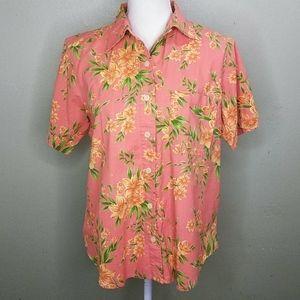 Erika & Co. Tropical Floral Print Shirt  PL - NWOT